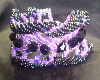 Lilac purple and iridescent right angle weave spring bracelet with magnetic clasp