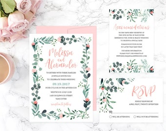 Garden Wedding Invitation Suite, Romantic Wedding Invitation Set, Wedding Invitation Template, Wedding Invitation Printable, Wedding GRDWS