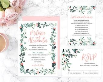 Garden Wedding Invitation Suite, Romantic Wedding Invitation Set, Wedding Invitation Template, Wedding Invitation Printable, Wedding GRDWS