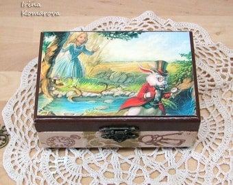 Alice in wonderland, decoupage box, wooden box, jewelry box