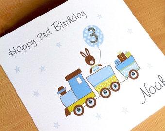 Personalised Train Birthday Card - Boys Birthday Card - Personalised Birthday Card Boys - 1st Birthday Card - 2nd Birthday Card