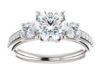 14K White Gold 3 Stone 7mm Round Forever One Moissanite Engagement Ring - Petite Ring - Affordable Ring