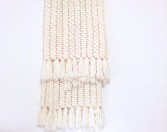 Knitted fringed throw blanket. Soft, warm and cozy, Vintage cream handmade blanket great bedroom accessory.