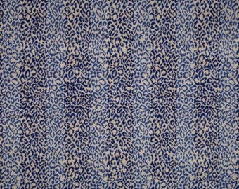 SCALAMANDRE CORBET ANIMAL Striped Loop Cut Velvet Fabric 10 Yards Cream Blue