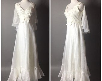 SALE SALE SALE Vintage 60s dress / vintage 70s dress / 1960s dress / 1970s dress / Mike Benet / maxi dress / wedding dress M5202
