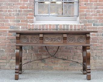 Spanish Style Console Table, spanish table, Antique spanish Table, carved Console, Indian Console Table, Console Table With Drawers