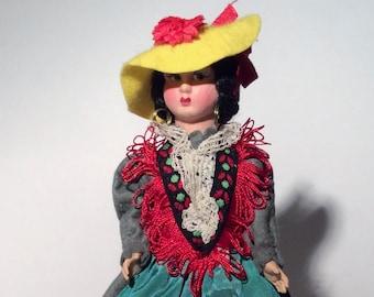 Vintage Costume Doll Magis Roma Genova Felt Doll Made in Italy
