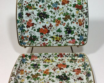 Vintage Daher Decorated Ware Rectangle Floral Trays Set of Two