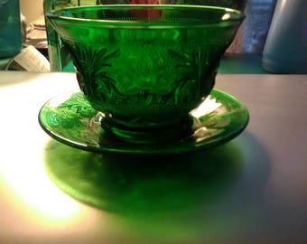 Vintage Anchor Hocking Forest Green Custard Cup with Saucer