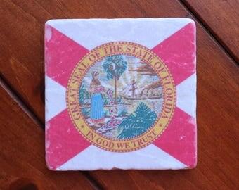 Custom Tumbled Marble Florida Flag Coaster