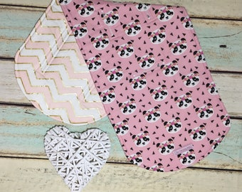 Universal Reversible Pram Liner - Cute Panda's on Pink with Pink, Gold and White Chevron