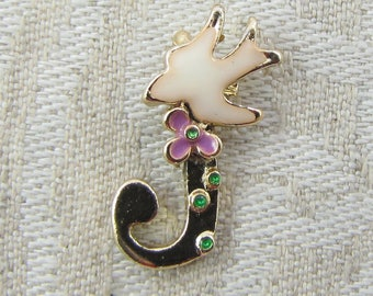 """Gold and Enamel Floral Letter """"J"""" Charm, 1 or 5 letters per package  ALF024j"""
