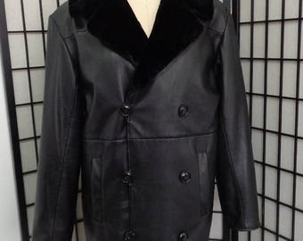 Brand new black leather & black sheared beaver fur coat jacket men man size all custom made