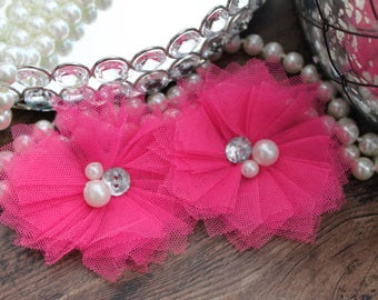 "SET OF TWO - 3"" Neon Pink Tulle Flowers with Center Accent - Elegant - Beautiful - Hair Accessories - Wedding - TheFabFind"