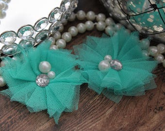 "SET OF TWO - 3"" Light Teal / Aqua Green Turquoise Flowers with Center Accent - Elegant - Beautiful - Hair Accessories - Wedding - TheFabFind"