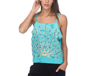 SCT016 - Hand Embroidered Silk Tank Top