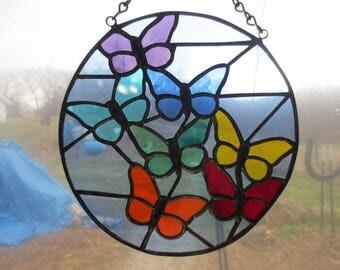 7- Chakra Butterfly Reiki Meditation Stained Glass Suncatcher