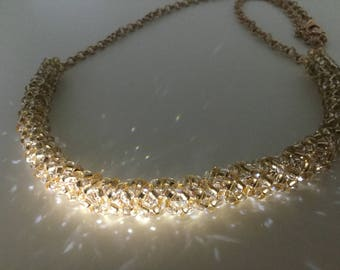 Champagne seed bead netted necklace with rose gold colour crystal accents - sparkly bead embroidery