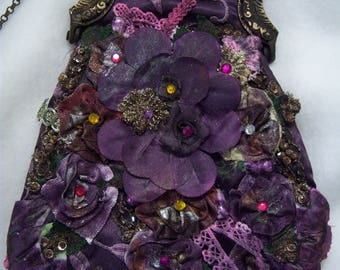 eclectic purse,OOAK,boho,antique style clasp,chain strap,purple silk,embroidered,bead tassels,flower embellishments,rhinestones,lace