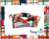 Traditional adjustable buckle dog collar in multicolored plaid pattern