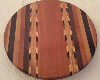18 inch Lazy Susan with Double Chevron and Curly Cherry Center ~ LSDBLCH