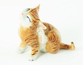 Miniature Striped Cat Scratching - Ceramic Hand Painted -