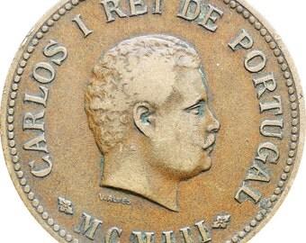 1903 Portugal India 1/2 Tanga Carlos I Coin