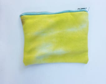 Yellow and Turquoise Tie Dye Handmade Jersey Purse