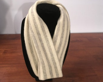 Upcycled cashmere infinity scarf. #22 Cream and grey striped felted cashmere infinity scarf.