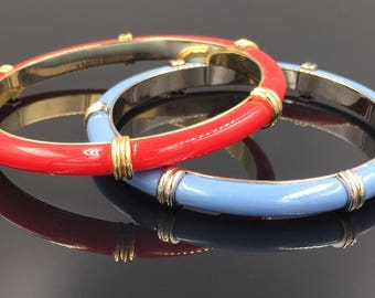 Pair of Matching Red & Blue Bangle Bracelets - Vintage Bangles, Blue Silver Bangle, Gold Red Bangle, Slip On Bangles