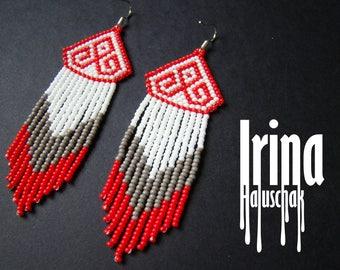 White and red beaded earrings seed bead earrings boho earrings grey earrings folk earrings ethnic earrings slavic earrings