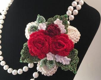 Rose Bouquet Beaded Crochet Brooch / Pin