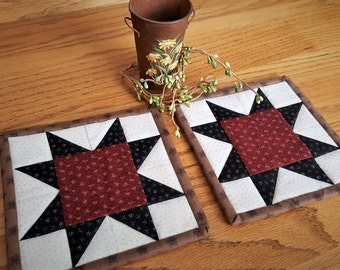 Quilted Coasters/ Quilted Mug Rugs/ Quilted Candle Mats/ Country Mug Rugs/ Primitive Coasters / Mug Rugs /Handmade