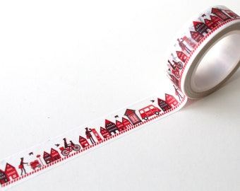 Red Street scene Washi tape/ Postman Mail Planner deco/ Red Post Wasi
