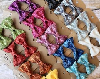 Glitter Hair Clips - Pigtail Clips - Glitter Bows - Little Girl Hair Clips - Sparkly Hair Clips - No Slip Hair Clip - Gift for Little Girl