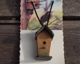 Primitive Folk Art Handmade Birdhouse Miniature Necklace