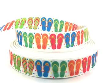 Flip Flop Ribbon, Flip Flop Grosgrain, Beach Ribbon, Beach Grosgrain, Summer Ribbon, Summer Grosgrain, Sandal Ribbon, Sandal Grosgrain