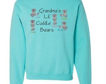 Grandma's Cuddle Bears - Personalized Embroidered Crewneck Sweatshirt
