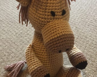 Handmade crochet horse, crochet toy