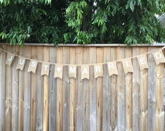 Just Married  Burlap Bunting Banner.  Hessian Bunting.  Burlap Flag Banner. Wedding Banner