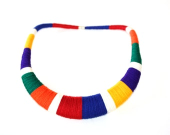 Colorful Primary Colors Bib Blue Red Yellow Statement Necklace Tribal Textile Multicolor Necklace Gift for Her Statement Jewelry