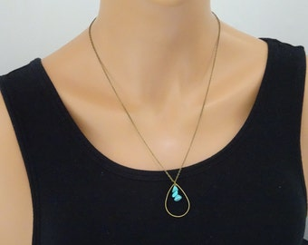 Turquoise necklace, Extra long boho necklace, turquoise teardrop necklace