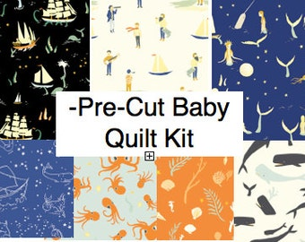 Organic Baby Quilt Kit, Modern Nautical Nursery Quilting Cotton, Pre-cut Squares, Saltwater by Birch Ships, Mermaids, Octopus, Whales, Ocean