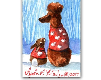 Red Poodle in Sweater for Valentines Day llmartin Original ACEO  Watercolor Brown Bunny 1