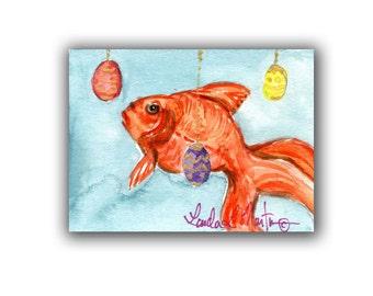 Goldfish Lovers! Original ACEO Artwork Miniature  llmartin  Watercolor Easter  Fish