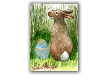 Easter Bunny Rabbit Lovers Special! Spring 2  LLMartin Original ACEO  Watercolor Free Shipping USA