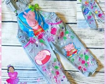 birthday peppa pig denim custom personalized overalls