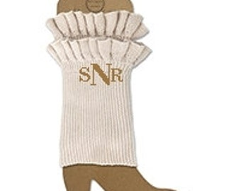 Ruffle Boot Cuffs with monogram