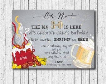 Birthday Invitation/shrimp, crawfish or seafood boil/DIGITAL FILE/printable/wording and age can be changed