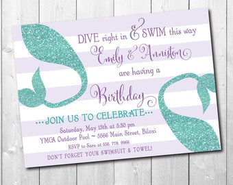 Mermaid Birthday Invitation printable, Under the Sea invitation, Mermaid swim party, joint party, glitterWording can be changed